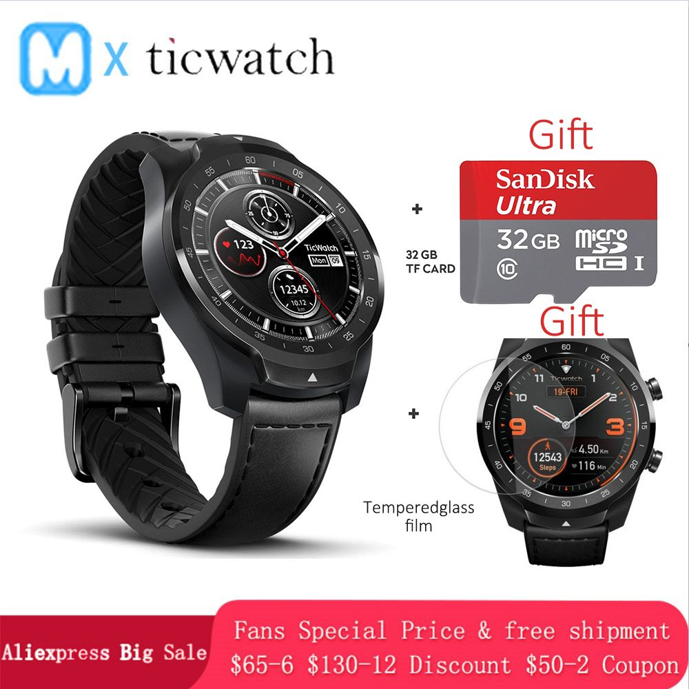 Ticwatch Pro Bluetooth Smart Uhr IP68 Layered Display unterstützung NFC Zahlungen/Google Assistent Tragen OS durch Google 415 mAH mann uhr