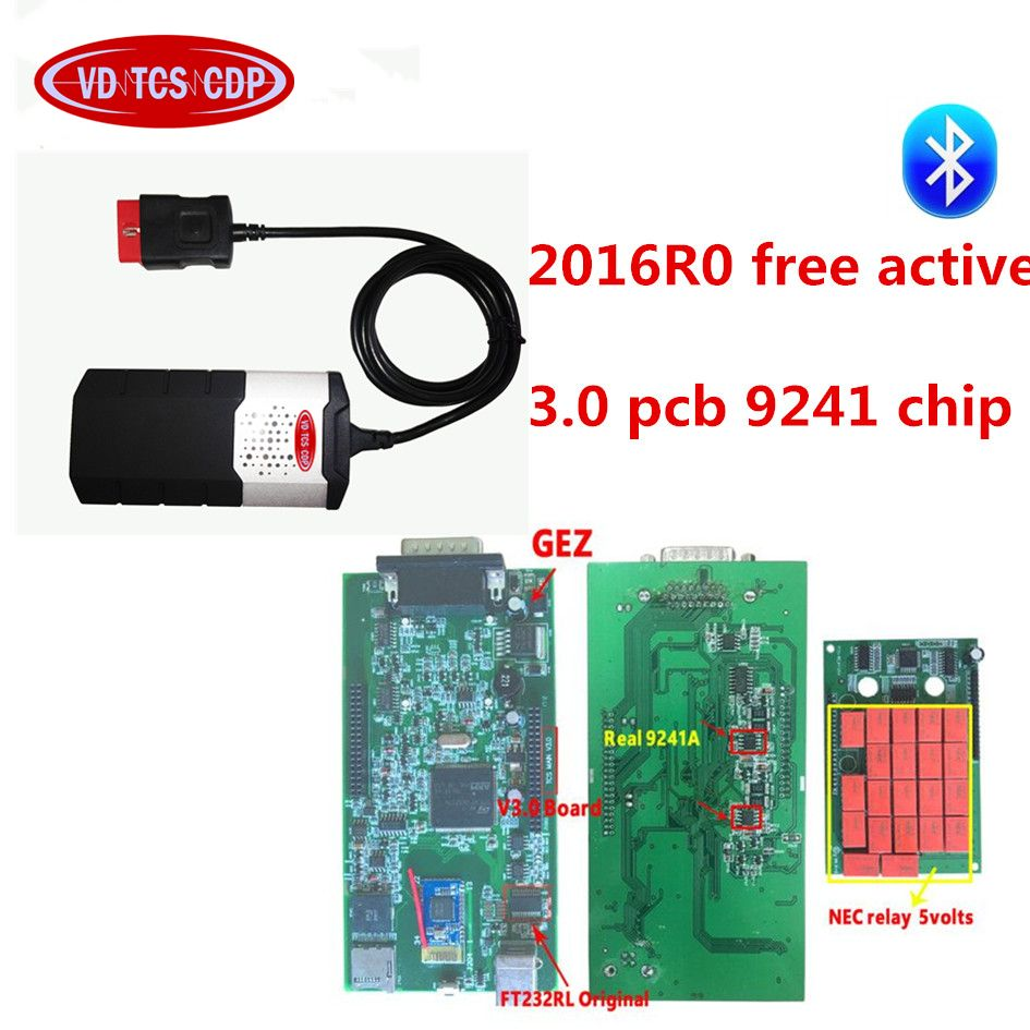 2016R0 free active CD for delphis vd ds150e cdp pro plus with 3.0 pcb 9241 chip with bluetooth +8pcs full set car cable