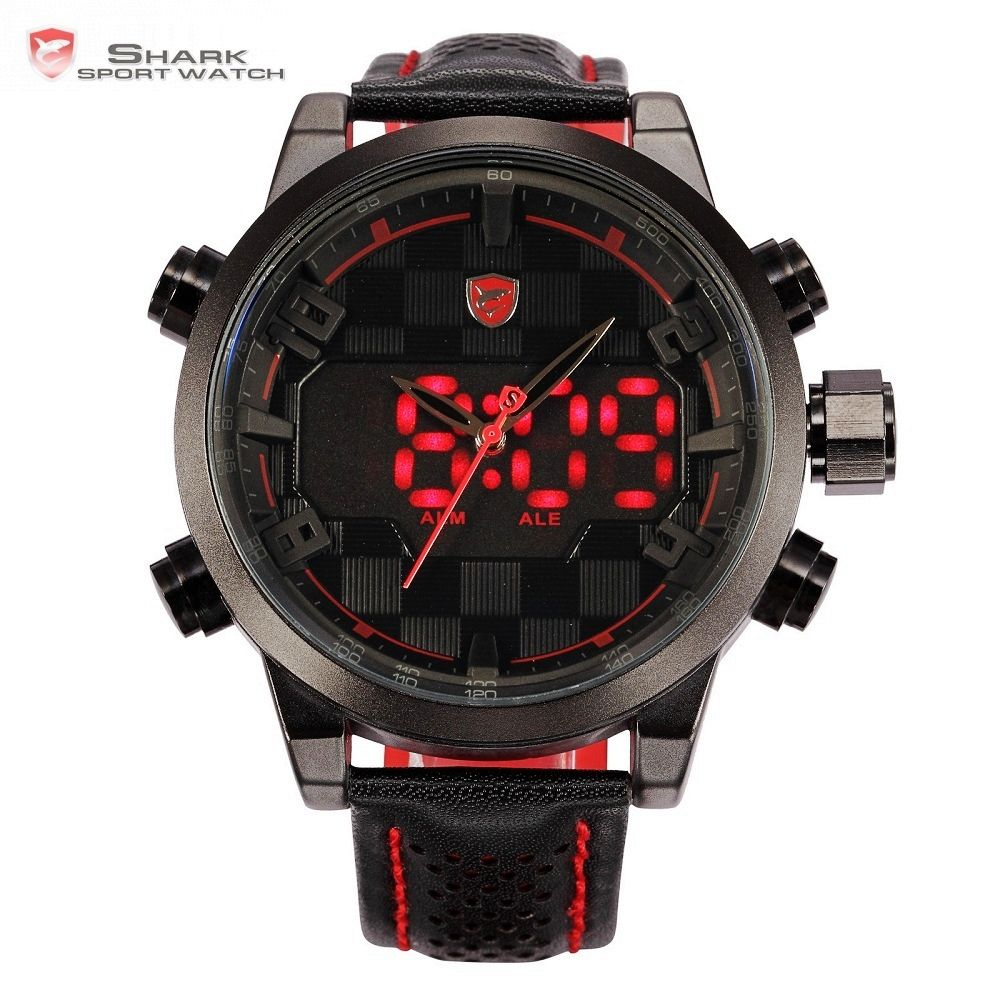 Sawback Angel Shark Sport Watch LED Black Red Stainless Steel Case Digital Dual Movement Leather Mens Waterproof Watches /SH203
