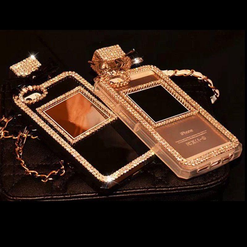 Pour iPhone 5 5S 6 6 S 7 Plus Strass Diamant Parfum bouteille Doux Case Phone Housse Sac À Main avec lanière Corde à la main DIY
