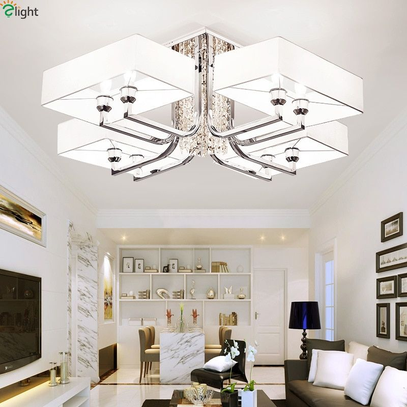 Modern Lustre Crystal Led Chandeliers Lighting Chrome Metal Living Room Led Ceiling Chandelier Lights Bedroom Led Chandelier