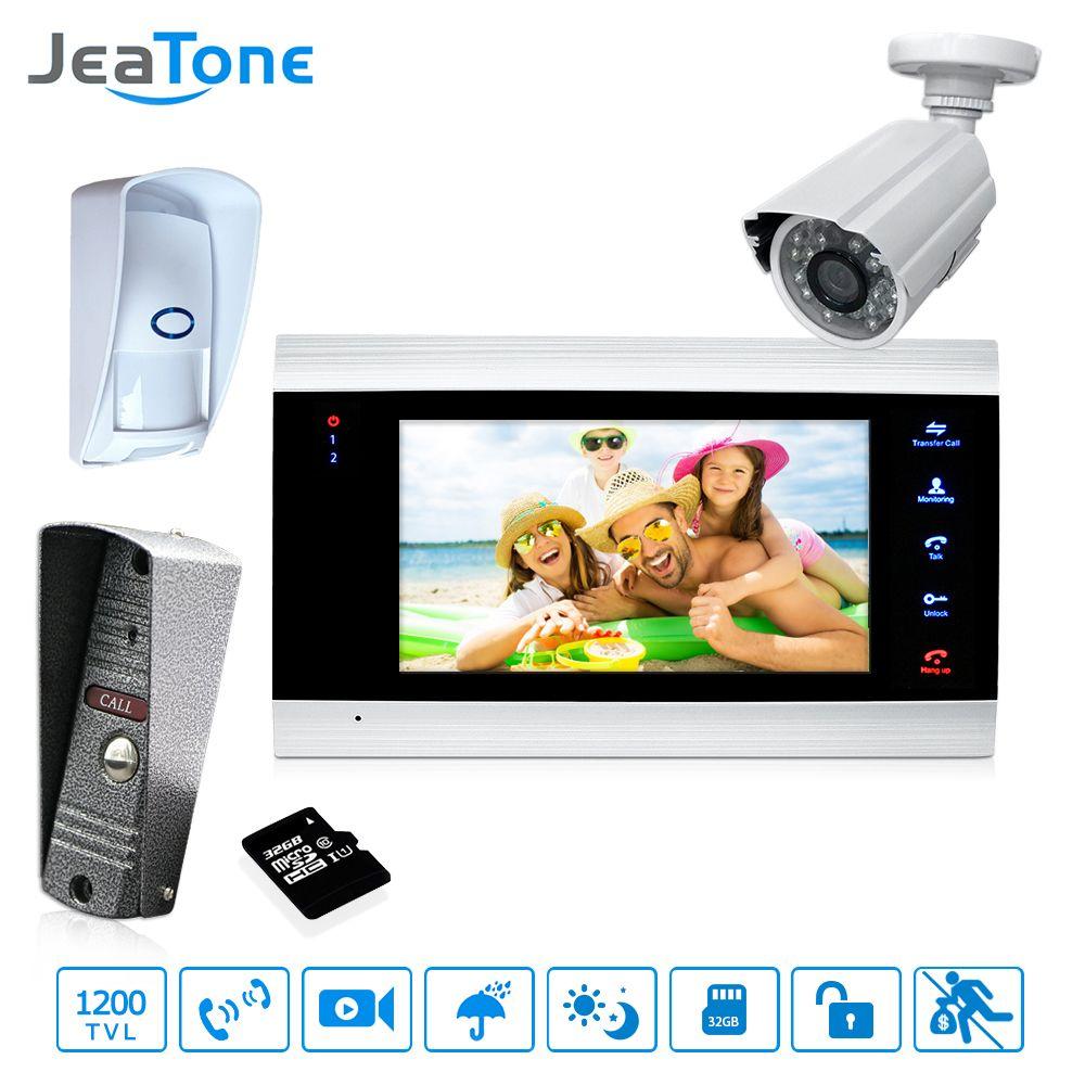 7'' Video Door Phone Intercom Doorbell Intercom With Extra Outdoor Camera/PIR/32G Card Access Control System Motion Detection