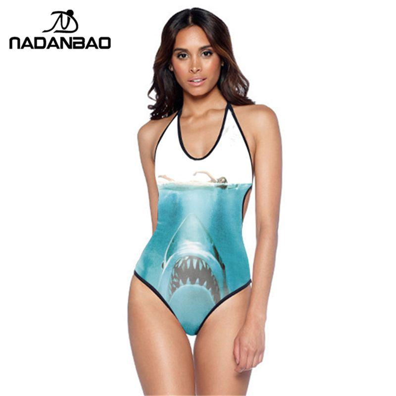 Nouveau Design maillot de bain une pièce requin VS A maillots de bain femmes Monokini licou dos nu maillot de bain pour les femmes nager SuitY01013