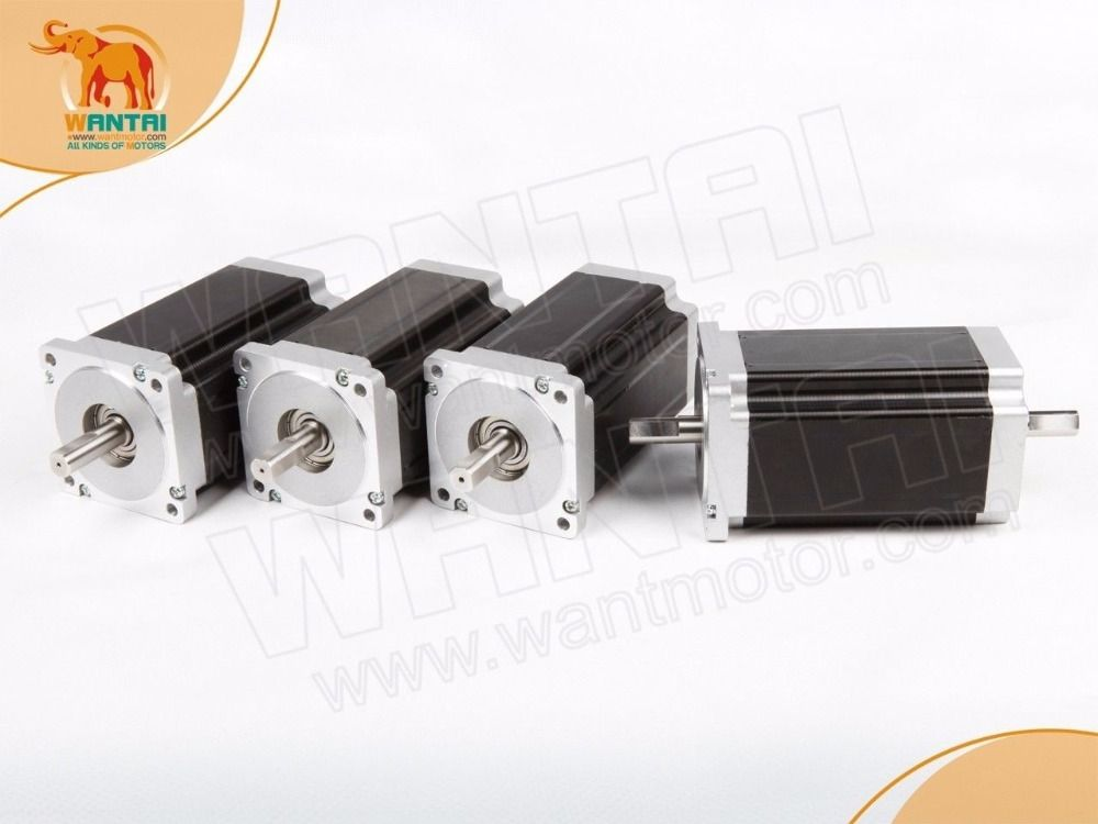 (German Ship & No Tax)4 PCS Nema 34 Wantai Stepper Motor 14mm Shaft diameter, 1232oz-in, 5.6A, CNC Mill, Engraver,Cutter