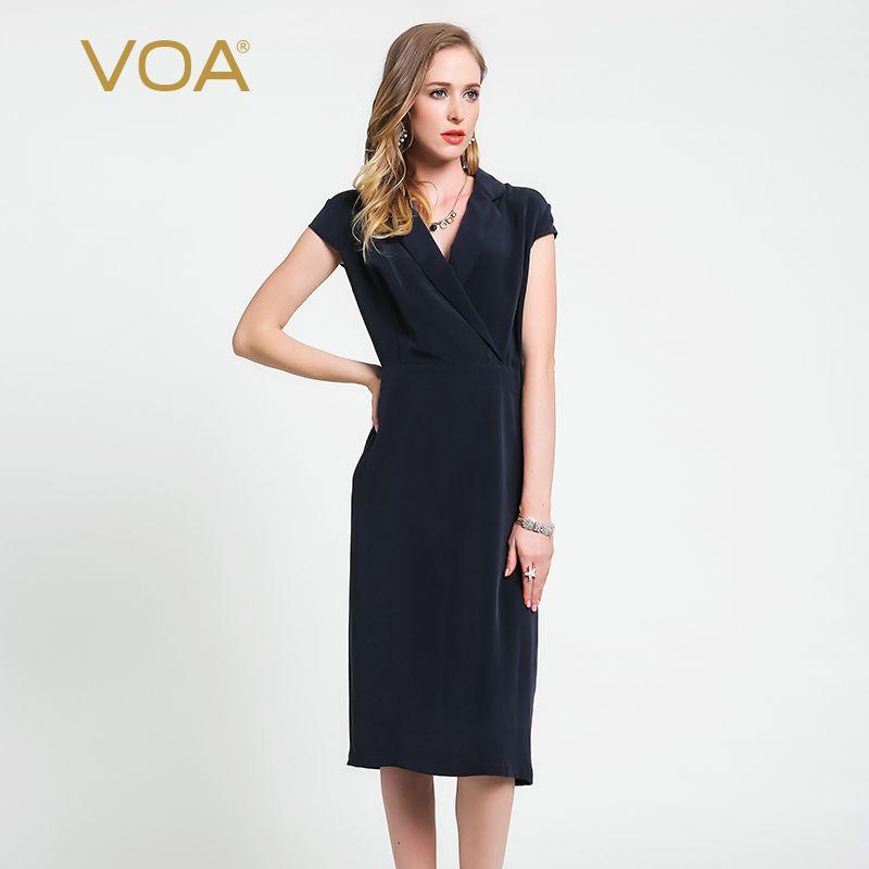 VOA 2018 Herbst Mode Deep Navy Blau Schwere Seide Büro Dame Dünne Bleistift Kleid V-ausschnitt Plus Größe Formale Frauen kleider A6059