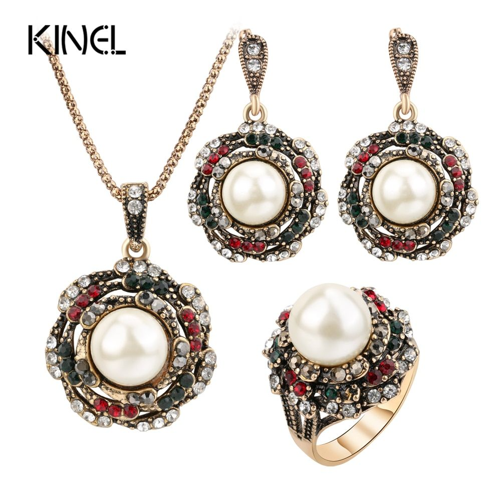 Kinel 3Pcs Vintage Imitation Pearls Jewelry Sets For Women Antique Gold Crystal Wedding Necklace Earrings Ring Turkish Jewelry
