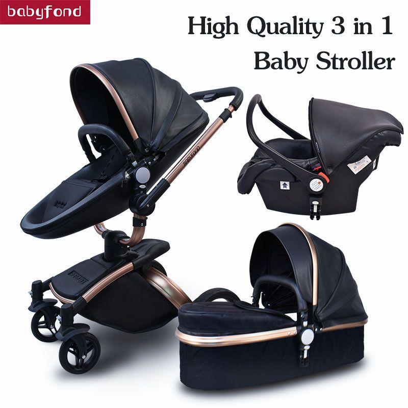 More Gifts!Free Ship! Babyfond Brand baby stroller 3pcs 3 in 1 baby stroller Leather Pram Eu Car Seat Bassinet newborn car gift