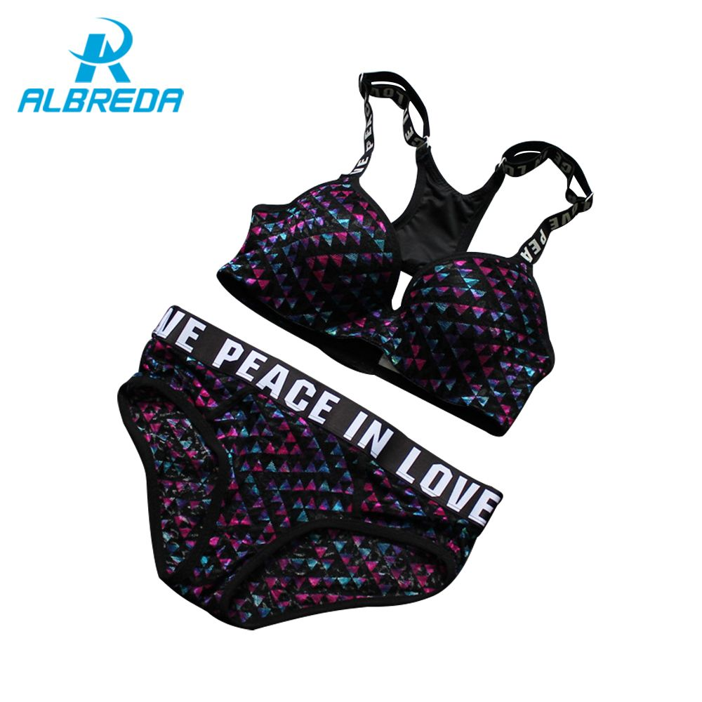 ALBREDA Women Sexy Push Up Bra Sets High Quality Running Yoga Sports Bra Set Adjustable Underwear Panty Suits Brassiere Lingerie