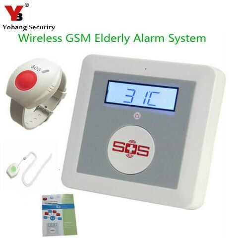 YobangSecurity Drahtlose GSM SMS Senior Telecare Home Security Alarm System SOS Anruf Mit Hals Handgelenk Notfall Panic Button
