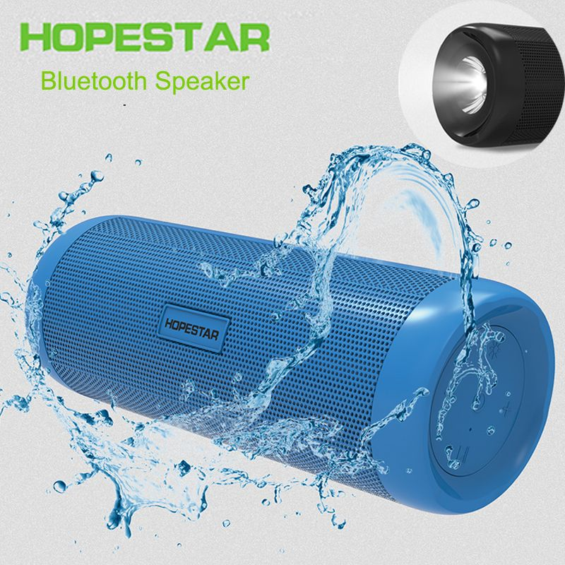HOPESTAR Bluetooth outdoors Speaker Wireless portable Subwoofer Bike Waterproof  Support TF FM Xiaomi with Power bank flashlight