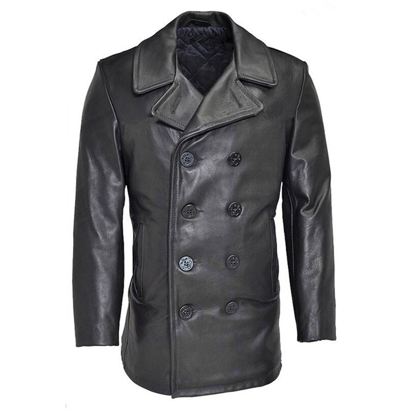 Read Description! Asian size winter genuine cow leather jacket men's classic cowhide leather wind pea coat