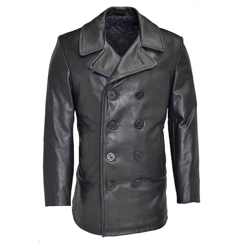 Read Description! Asian size winter genuine cow leather jacket men's classic cowhide leather wind pea coat
