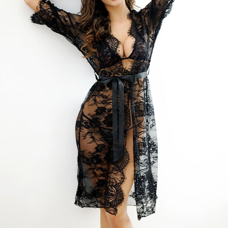 2017 Sexy Women Nightgowns Sleepshirts Three Quarter O Neck Nightgown Solid Full Lace Transparnet Hollow Out Dress Plus Size