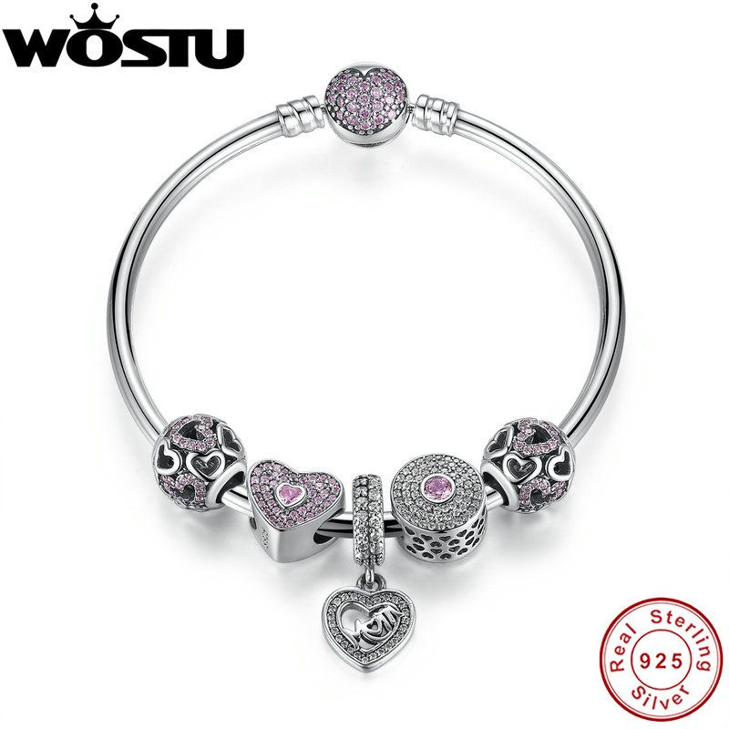Hot Sale 100% 925 Sterling Silver Bangles & Bracelet With Mum Sweetheart Charms Beads Luxury Jewelry Original Gift CRB002