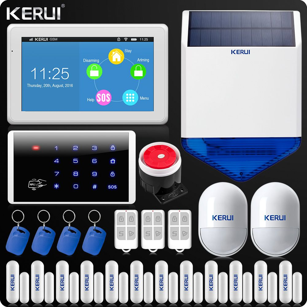 KERUI Touch-Screen 7 Inch TFT Color Display WIFI GSM Alarm System Home Alarm Security Wireless Keypad Rfid Solar Siren