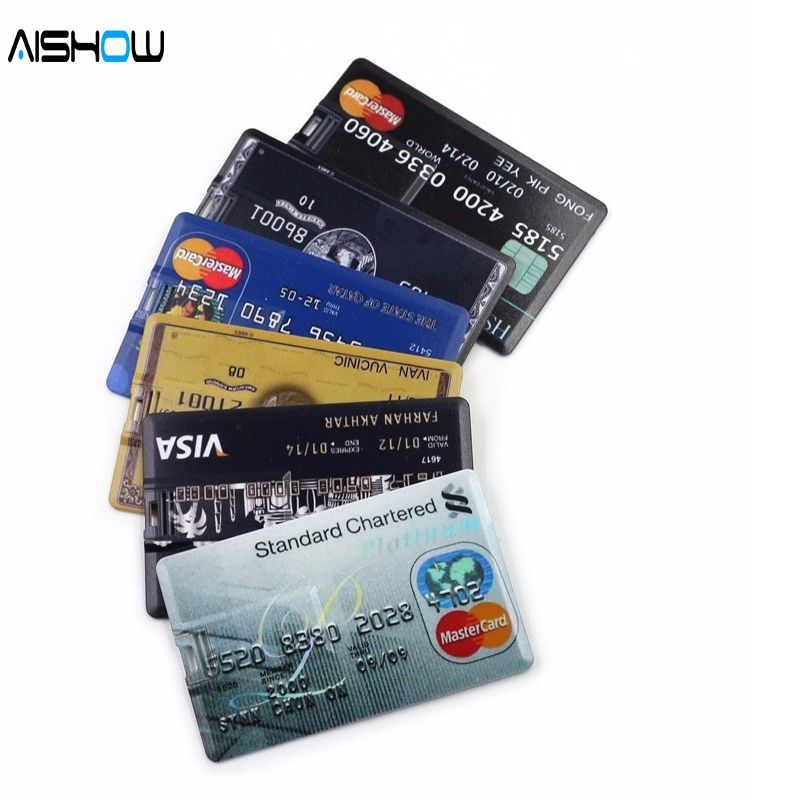 Nouveauté 100% capacité carte de crédit modèle 4 GB 8 GB 16 GB 32 GB USB 2.0 mémoire Stick Flash stylo lecteur clé USB chariot o cre lecteurs