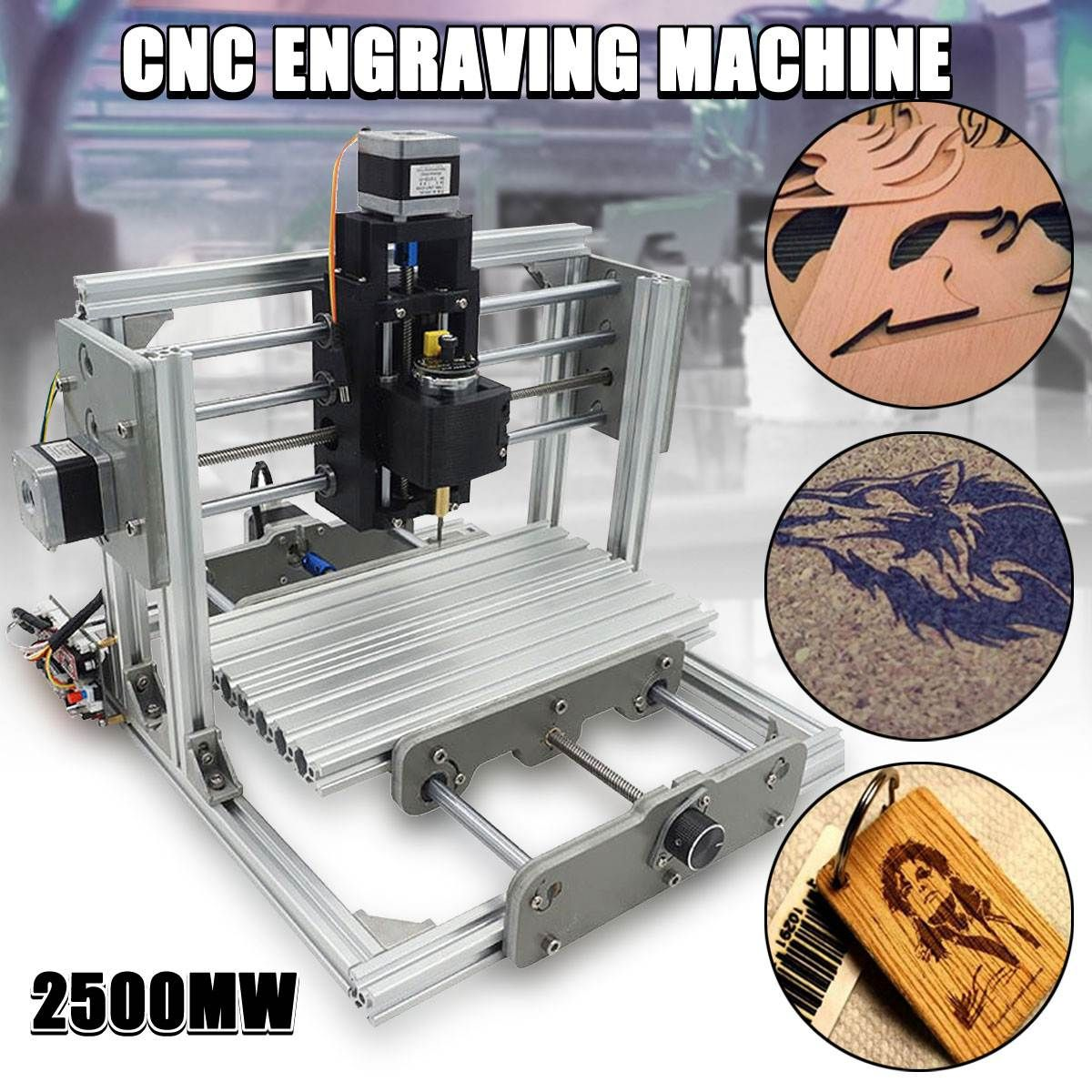 DC 12V 2500MW 3 Axis Mini DIY Desktop CNC Laser Engraver Engraving Machine Milling Carving Cutter Wood Router 0.04MM+ T8 Screws