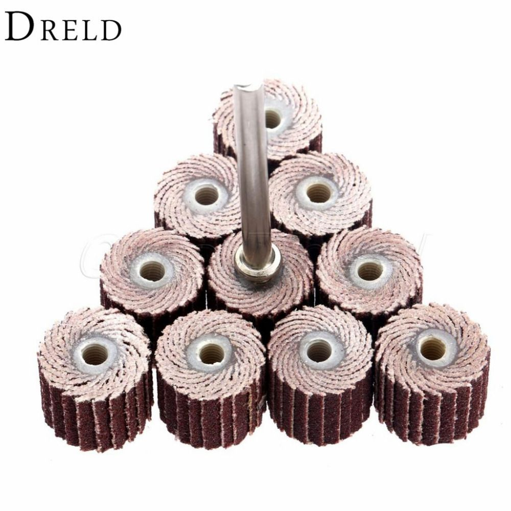10Pcs 240-Grit 10 x 10x 3mm Sanding Flap Disc Grinding Flap Wheels Brush Sand Rotary Tool Dremel Accessories accesorios dremel