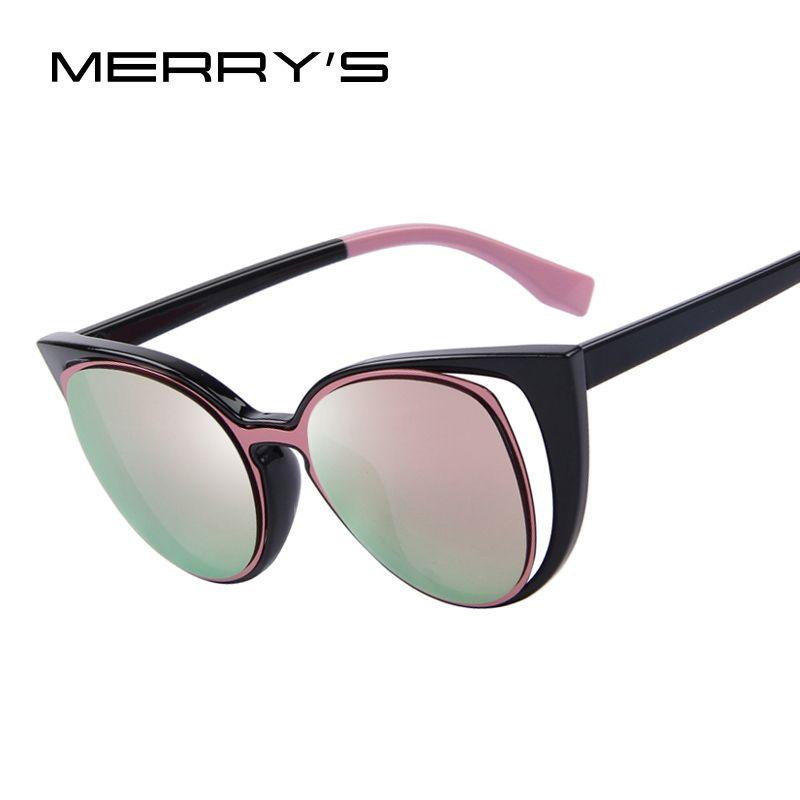 MERRY'S Moda Cat Eye Sunglasses Mujeres Diseñador de la Marca Retro Traspasado Mujer Gafas de Sol gafas de sol feminino UV400