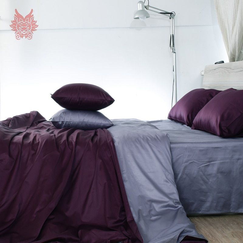 Purple capa de edredon set pure cotton bedding sets 100%cotton tribute silk duvet cover set bed sheet type King Queen SP3225