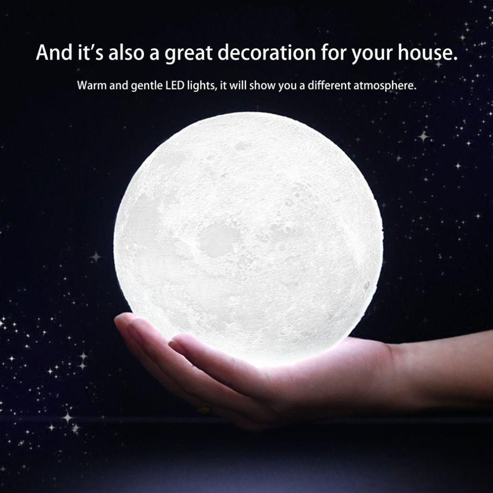 3D Magique Lune LED Nuit Lumière Clair De Lune Lampe de Bureau USB Rechargeable 3 Lumière Couleurs En Continu pour La Maison Décoration De Noël décor