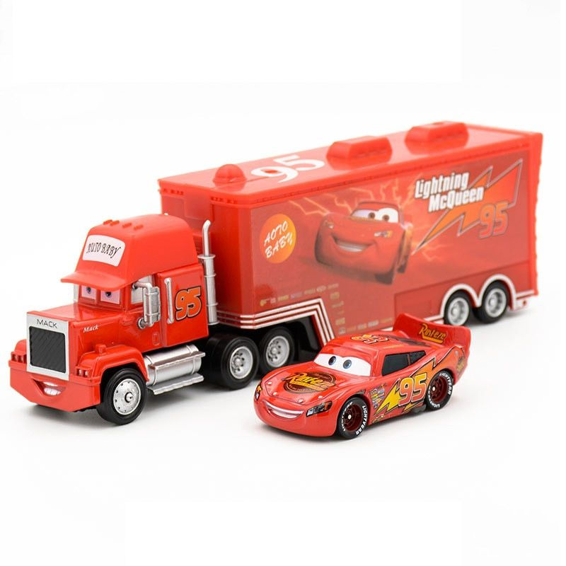 Disney Pixar Cars 2 Toys 2pcs <font><b>Lightning</b></font> McQueen Mack Truck The King 1:55 Diecast Metal Alloy Modle Figures Toys Gifts For Kids