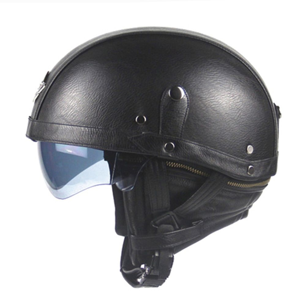New Synthetic Leather Motorcycle Helmet Retro Vintage Half Helmet Cruiser Scooter Touring Casco Moto Helmet DOT Sun Shield Lens