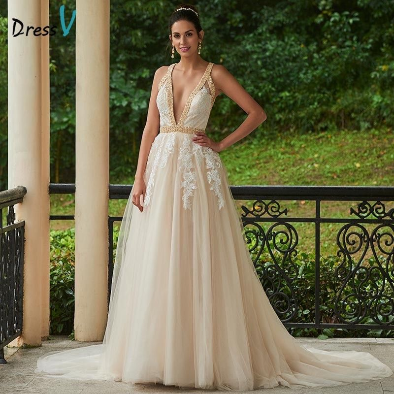 Dressv Sexy Deep V Neck Backless Wedding Dress A Line Appliques Beading Court Train Bridal Dress Real Tulle Long Wedding Dresses