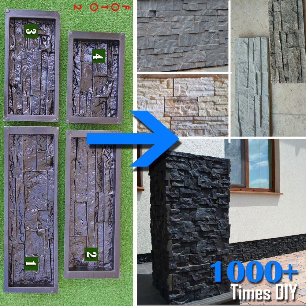 Plastic Molds for Concrete Plaster Cement Wall Stone Tiles Plaster Form for DIY Garden and House Wall Decor Slate Maker