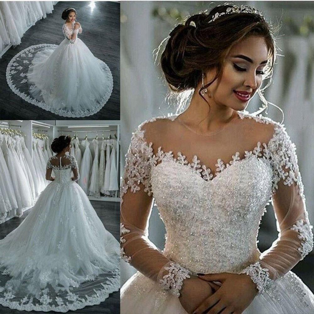Vestidos De Noiva 2018 Elegant A Line Long Sleeve Wedding Dress Tulle Appliques Beaded Princess Lace Wedding Gowns