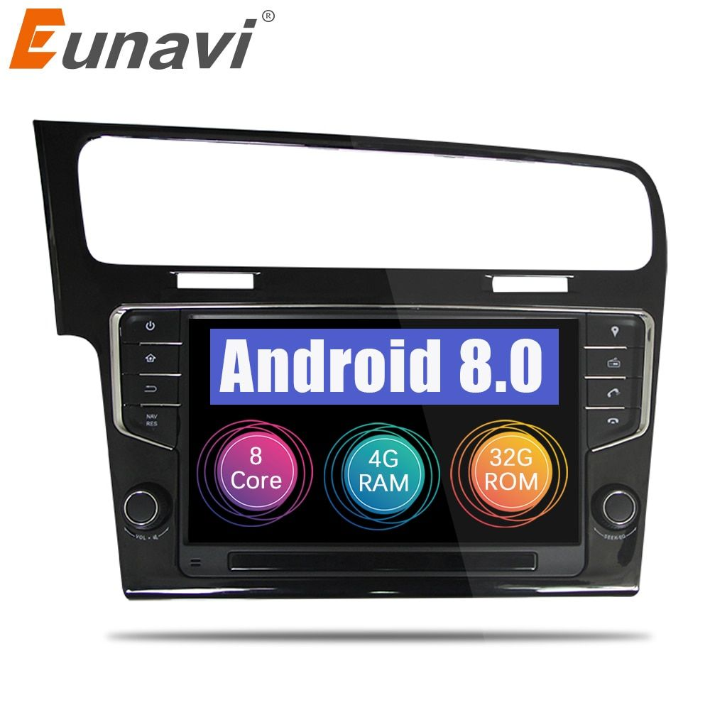 Eunavi Octa Core 9'' Android 8.0 4GB RAM Car Radio GPS Player for VW GOLF 7 golf7 2013-2017 head units stereo audio navigation