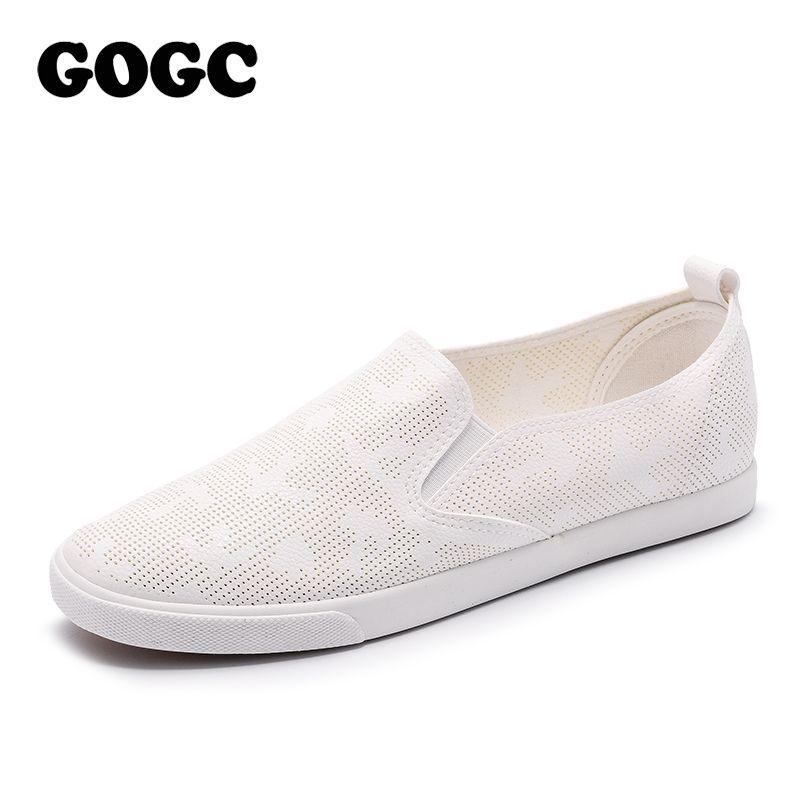 Gogc 2018 nuevo estilo mujeres Zapatos con agujero transpirable calzado Zapatos slipony mujeres sneakers Primavera Verano