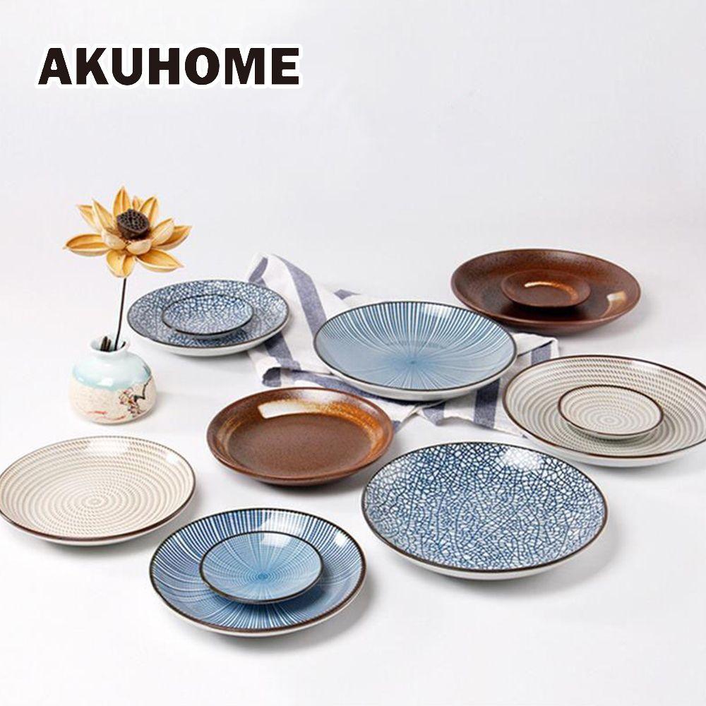7 pièces céramique couverts ensembles assiette style japonais, plat bol fourchette céramique vaisselle pour 2 personnes dîner