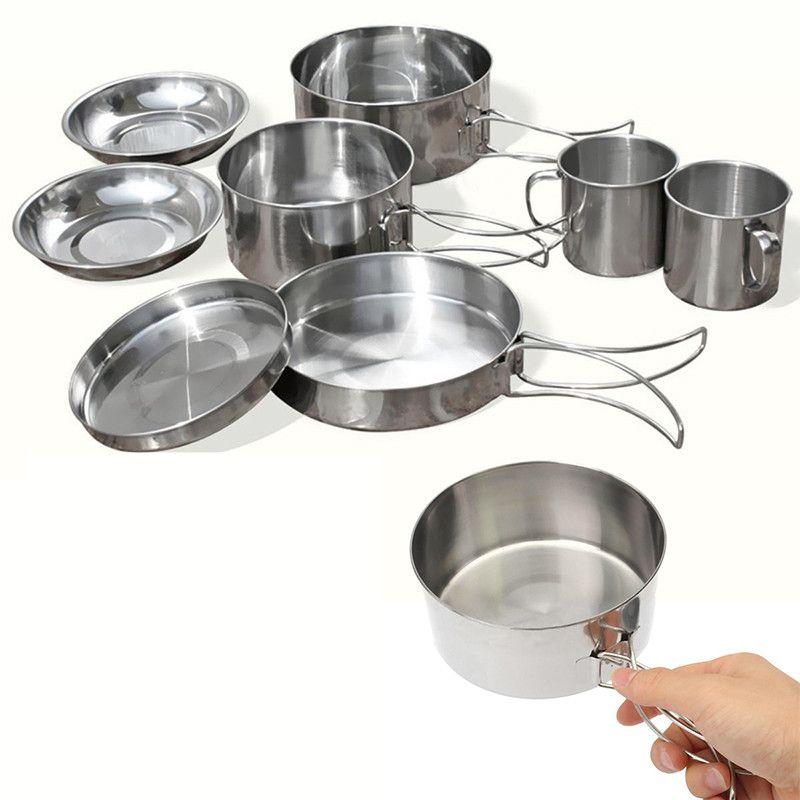 Nouveau 8 Pcs En Plein Air de Pique-Nique Pot Pan Kit En Acier Inoxydable Randonnée ustensiles de cuisine Plaque Bol Tasse Couvercle du Bac pour Camp Randonnée Cuisson ensemble