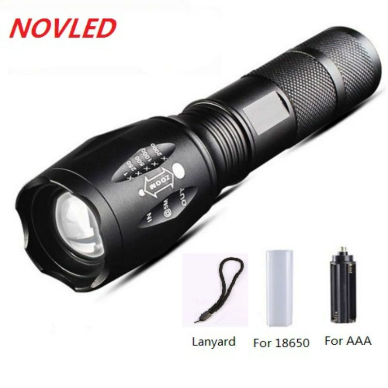 100% Authentic E17 6000 Lumens 5-Mode CREE XM-L T6 LED Flashlight Zoomable Focus Torch by 1*18650 or 3*AAA Free shipping 5%