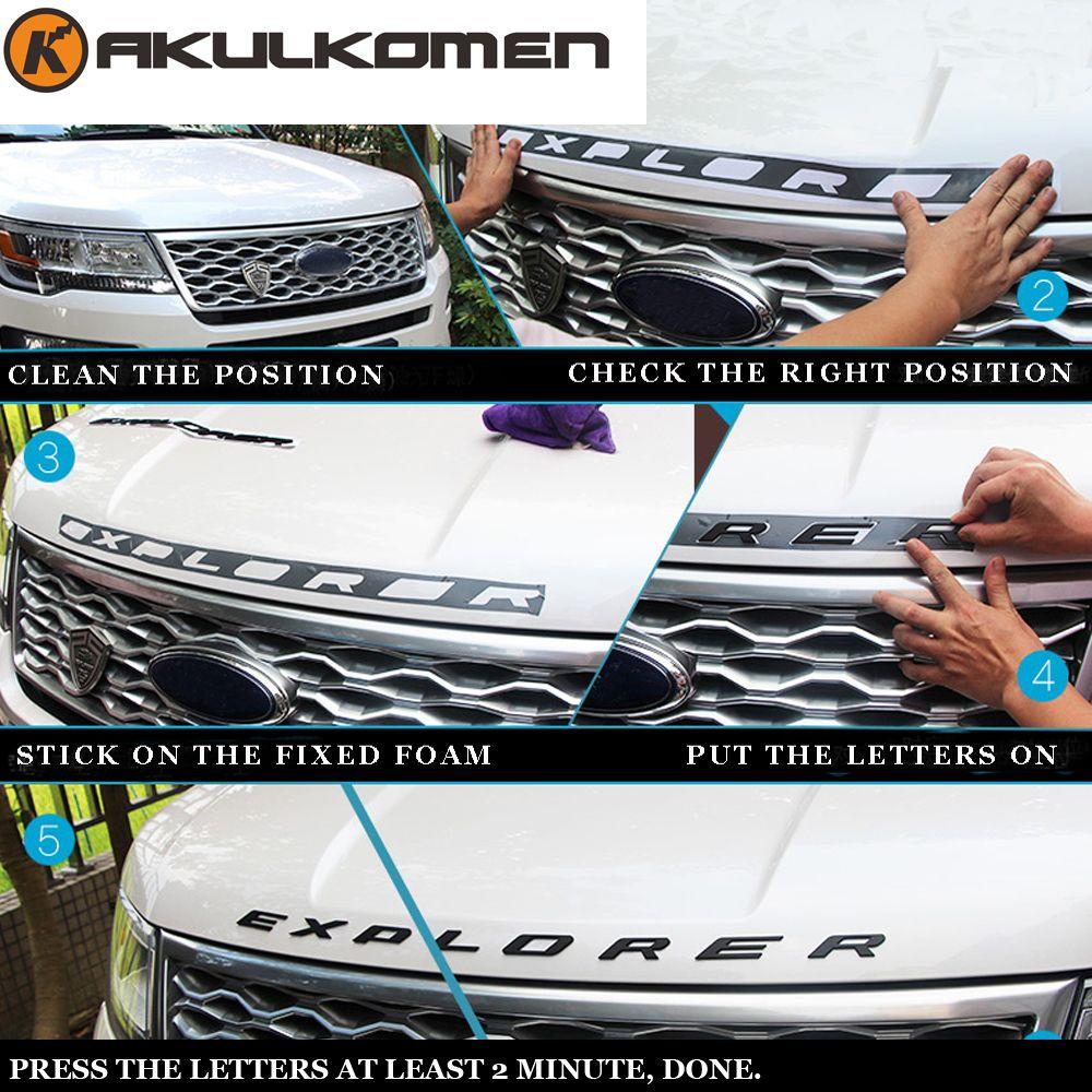 DIY car 3D EXPLORER Fixed Letters Hood Emblem Chrome Logo Badge Sticker For 2011 2012 2013 2014 2015 2016 Ford Explorer Sport