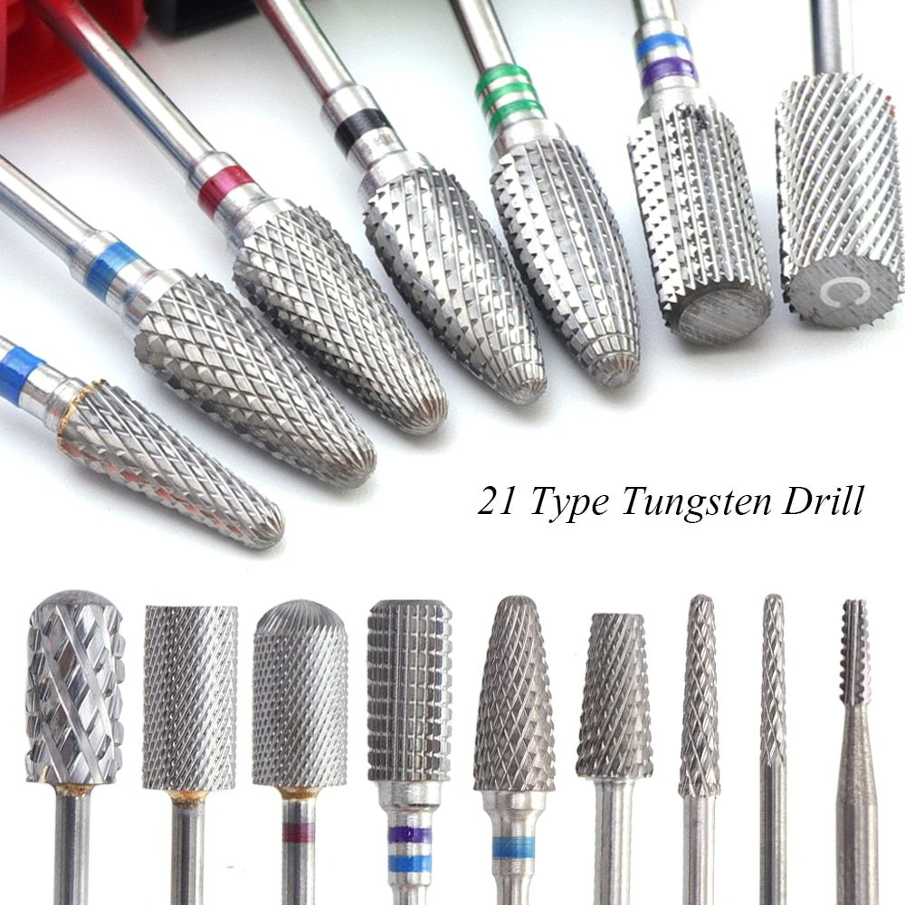 1pcs Carbide Tungsten Milling Cutter Burrs Electric Nail Drill Bit 21 Types Cuticle Polishing Tools for Manicure Drill TR01-21
