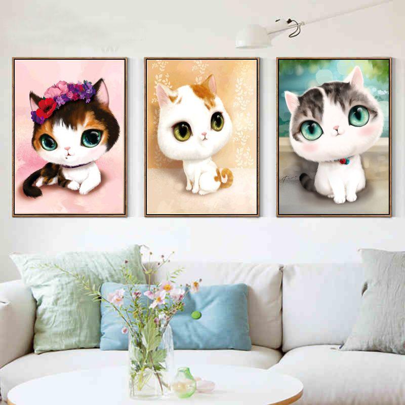 5D DIY алмазная мозаика алмаз вышивка спальня мультфильм животных милый кот точки алмазной пастой алмаз живопись вышивки крестом