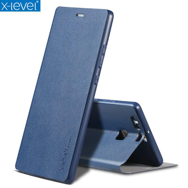 X-Niveau Livre En Cuir Flip Cas Pour Huawei P9/P9 Lite/P9 Plus D'affaires Ultra Mince En Cuir Funda Couverture cas