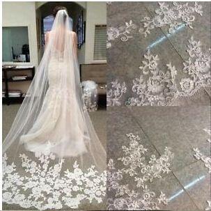 Mode Une couche 3 Mètre Long voile De Mariée 2018 Dentelle Appliques Robe de noiva Brautschleier De Mariage Voile veu de noiva longo