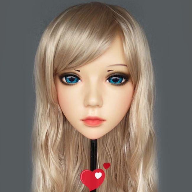 (Ling-3) weibliche Süße Mädchen Harz Hälfte Kopf Kigurumi BJD Augen Crossdress Cosplay Japanischen Anime Rolle Lolita Maske Mit Augen Und Perücke
