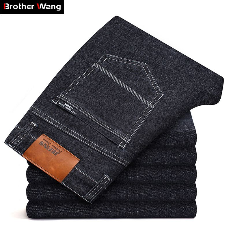 Big Size 40 42 44 46 Men Brand Jeans New Slim Fit Business Casual Elastic Denim Pants Male Balck Blue Thick Trousers