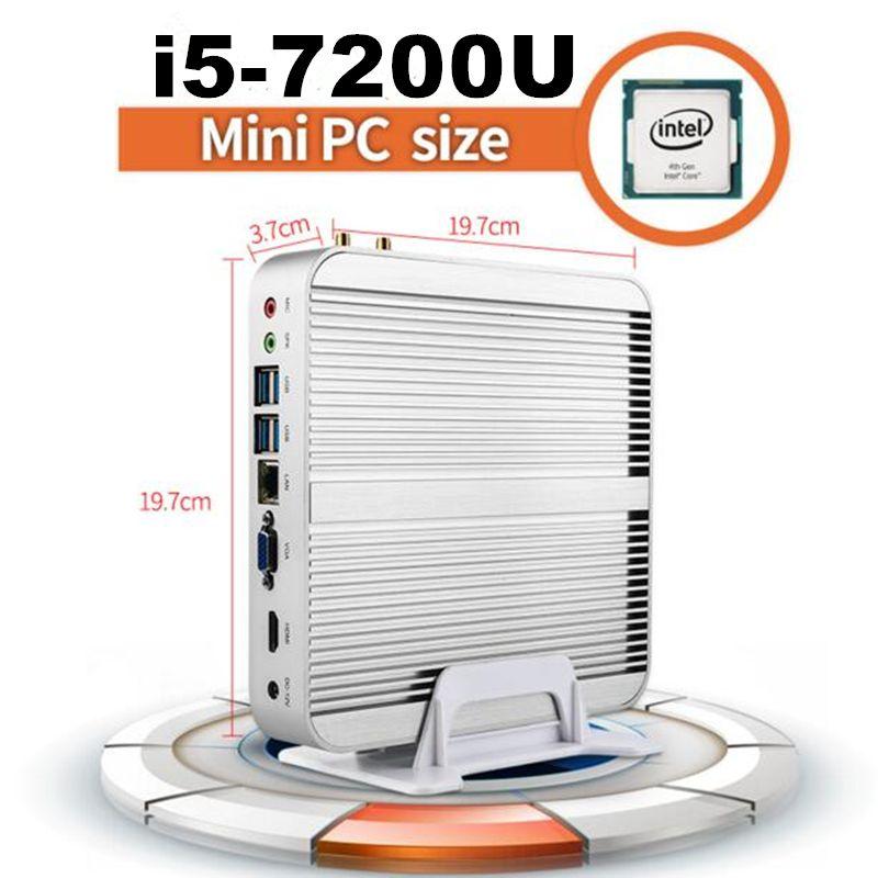 [7th Gen Intel Core i5 7200U] Eglobal Newest Kaby Lake Win10 Mini PC Max 3.1GHz Fanless Nuc HTPC Intel HD Graphics 620 4K TV Box