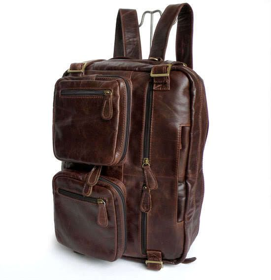 Fashion Two Use Real Genuine Leather Men's Backpacks Leather Backpack Business Men Travel Bags 14