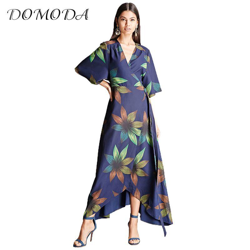 Domoda nueva moda las mujeres del vestido del verano de la gasa del Frente V Masajeadores de cuello alta cintura irregular vestido floral imprimir partido Daily Maxi vestido