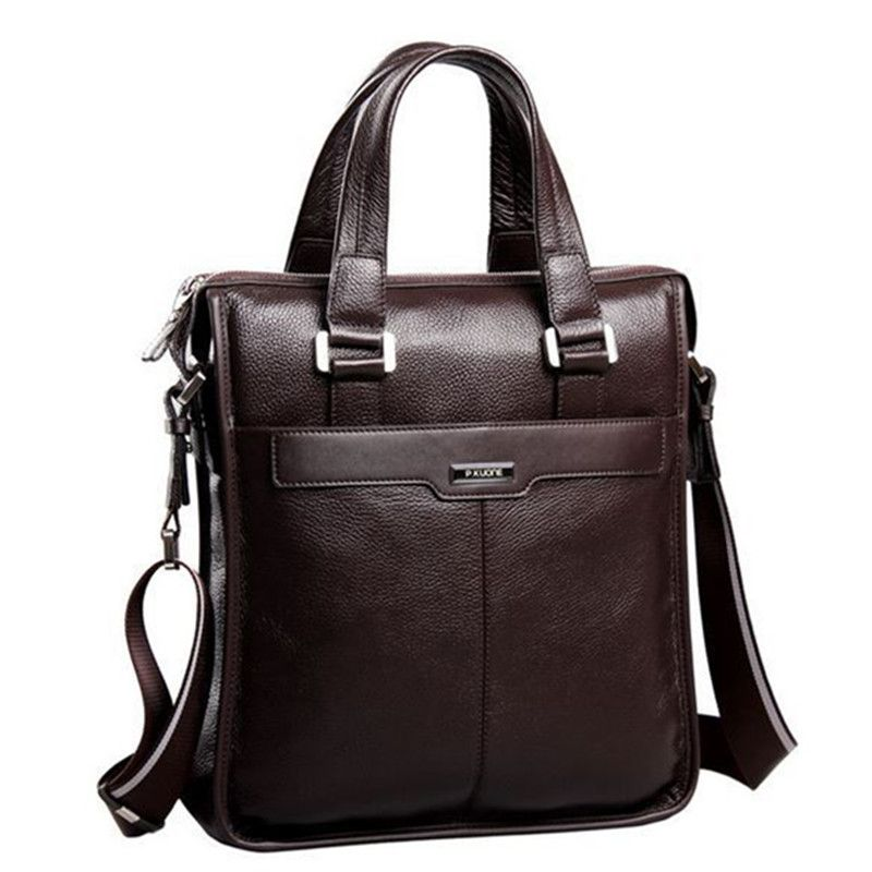 P.kuone 2018 New brand men bag genuine leather handbag Perfect Quality Natural cowskin leather Vertical men business briefcase