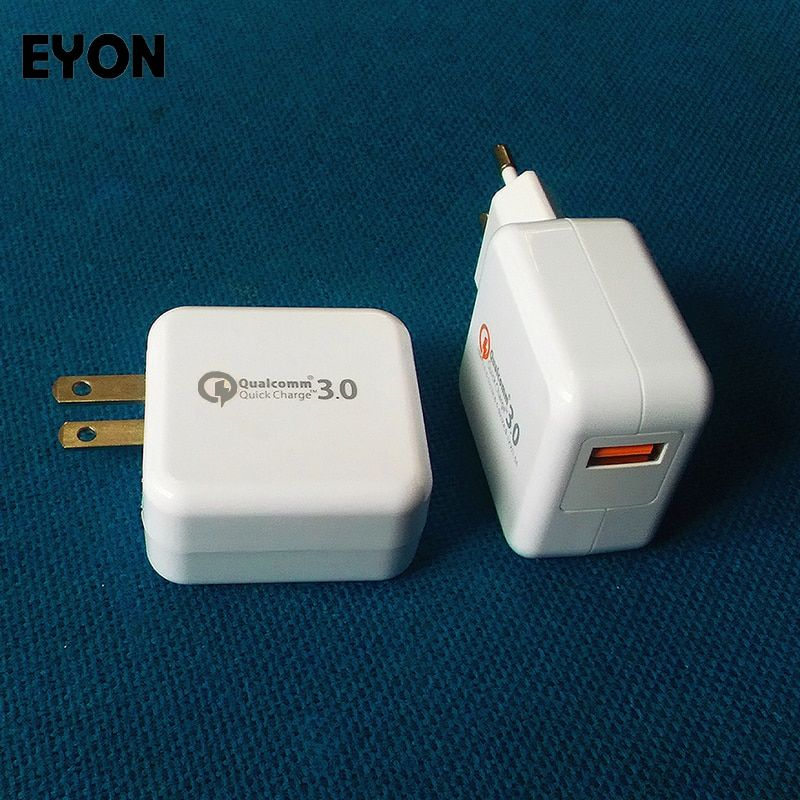 EYON Charge rapide 3.0 Qualcomm Chipset QC 3.0 18 W USB Turbo Wall chargeur de voyage rapide pour Samsung S8 S7 Edge Xiaomi Mi5S 6 HUAWEI