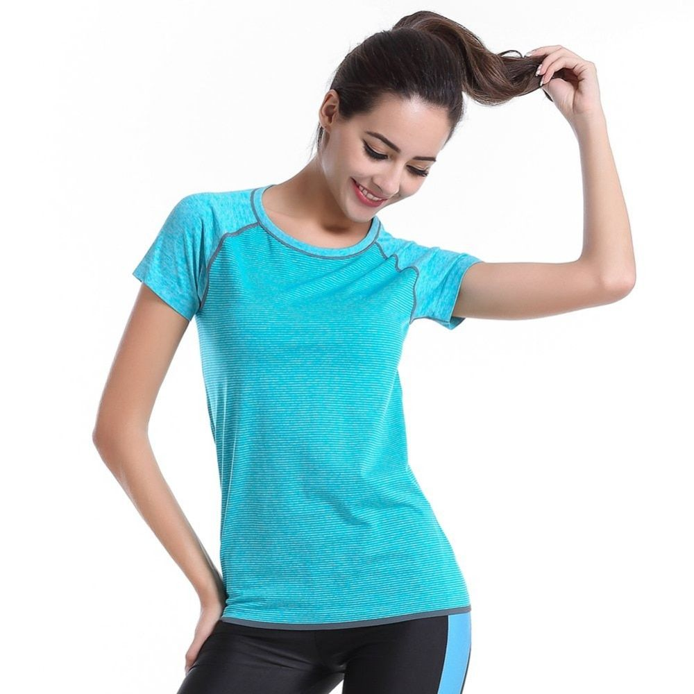 Summer Gym Fitness T shirt Compression Tights Women Sport T-shirts Dry Quick Running Short Sleeve Clothes tops