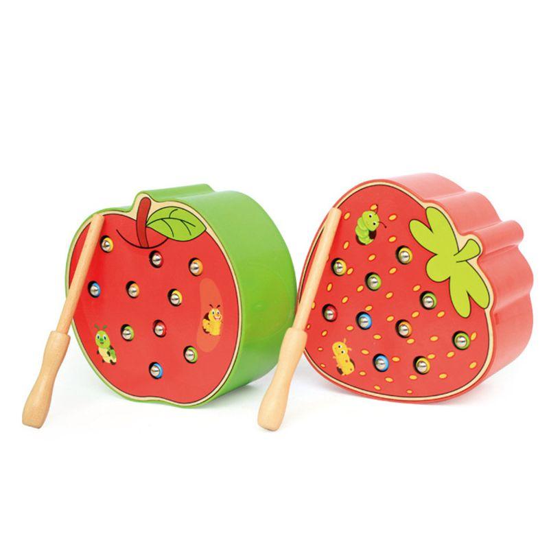 Bébé jouets en bois 3D Puzzle petite enfance jouets éducatifs attraper ver jeu couleur Cognitive magnétique fraise pomme