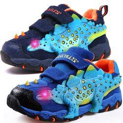 Dinoskulls Anak Sepatu 3D Dinosaurus Cahaya Anak Laki-laki Sneakers 2019 LED Beludru Anak Pelatih Bersinar Tenis Anak Besar Sepatu